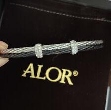 ALOR 18k White Gold and Black Stainless Steel Diamond Bracelet $850.00