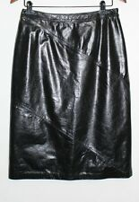 Women's Lorena Antoniazzi 100% Leather Black Panel High Waisted Skirt Size: 44