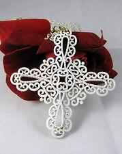 Vintage Crown Trifari White Enamel Open Work Necklace CAT RESCUE