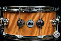 """DW DRUMS EXOTIC REDWOOD CURL NATURAL LACQUER W/ CHROME HW! 6.5""""x14"""" SNARE DRUM"""