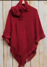 Tickled Pink Womens Faux Fur Fringed Hooded Poncho Red NWT