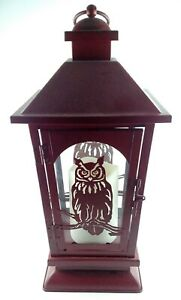 Red Metal Owl Lantern Flickering LED Flameless Candle Auto Timer