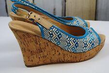 Costa Blanca Women Size 8.5 Wedge Sandals Blue/White Aztec Open Toe Cork-Style
