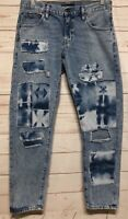 "LEVI ""THE CRUSH TAPER"" DISTRESSED PATCH JEANs Women's Size 28 Distressed"