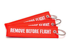 REMOVE BEFORE FLIGHT ® - 3 er Set Schlüsselanhänger ROT -- Original EU Marke