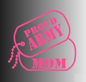 Proud Army Mom Dog Tags Die Cut Window Sticker Decal - Multiple Colors