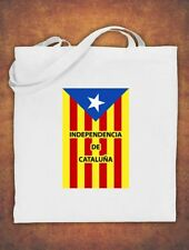 Large Tote Bag Catalonia Catalan Catalunya Independence Barcelona Cotton White
