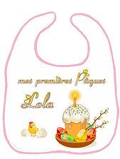 Bavoir bébé fille premières pâques personnalisé avec prénom réf F20