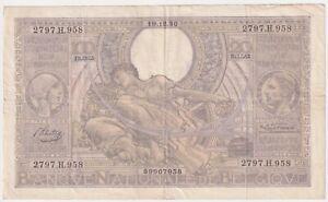 Belgium 100 Franc 1937  P-107 condition : vf