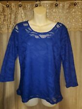 Women's Small Royal Blue Lined Top w/ 3/4 Sleeves by Peck & Peck-Must See!