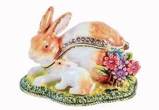Easter Bunny with Baby Trinket Box. Hand Set Swarovski Crystals & Brown Enamel