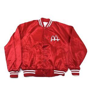 Vintage McDonalds Satin Bomber Jacket Deadstock Size Large Red USA 80s Vtg