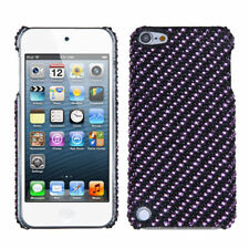 iPod Touch 5 5th gen Crystal Diamond BLING Hard Case Snap Cover Purple Stripes