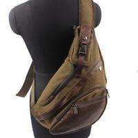 Men's Canvas Motorcycle Bike Travel Hiking Messenger Shoulder Sling Chest Bag