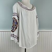 Size 1X INC White Embroidered Boho Chic Peasant Blouse Top Shirt Women's Plus