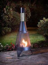 Modern Outdoor Garden Patio Heater Chimnea Wood Burner Steel Fire Pit BBQ 120cm