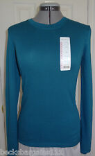 New Eddie Bauer Womens Long Sleeve Crew Stretch Knit Top Teal Blue Small NWT