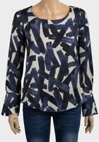 Ladies Ex Chainstore Navy Blue Brush Stroke Print Long Sleeve Blouse Top