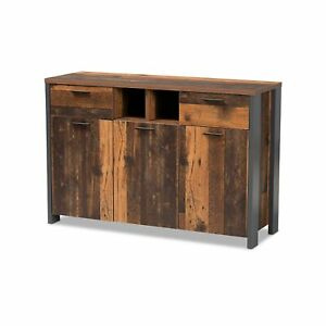 Baxton Studio Ranger Mid-Century Modern Rustic Brown Finished Wood and Grey M...