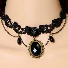 Punte Collare Nero Gotico Collier collare Barocco Victorian Collana Rosa NUOVO