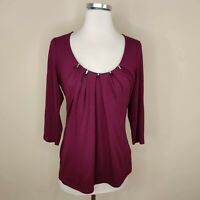 White House Black Market Jersey Knit Top Embellished Neckline S Small