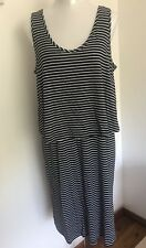 Size Large (16-18) Black & White Striped Overlay Stretchy Jersey Dress