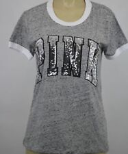 (L)VICTORIA'S SECRET PINK TEE SHIRT BLING!! MARBLE GRAY/ WHITE SIZE LARGE