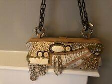 MARY FRANCES DESIGNER HANDBAG Coral Cream Beige Beadwork Lovely