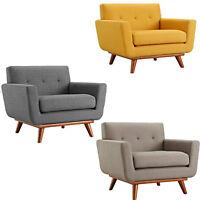 Classic Mid-Century Modern Tufted Club Chair Arms Yellow, Dark & Granite Gray