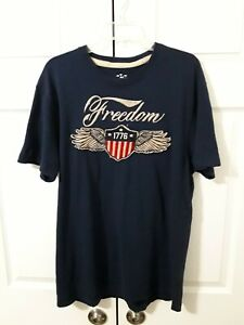 """Old Navy Crew Neck Embroidered """"Freedom 1776"""" Navy Blue T-Shirt Men's Size L"""