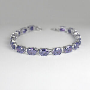 Color-Changing Alexandrite Tennis Bracelet Sterling Silver 925 / Oval-Shaped