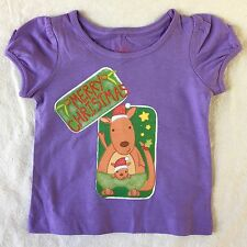 Baby Girls Purple T Shirt With Christmas Kangaroo Picture Size 1