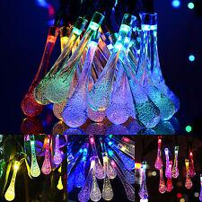 5m 30 Led Bulbs Water Drop Lamp Xmas Party String Fairy Lights Solar Power Us