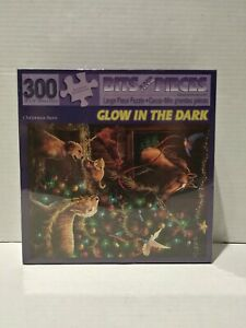 Bits And Pieces Glow In The Dark 300 Pcs. Puzzle Christmas Barn-New