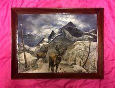 Vintage David Moore Signed Original Oil Painting Mountain / Landscape  / Deer
