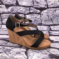 Toms Women's Black Ankle Strap Cork Wedge Platform Sandals Size 8.5