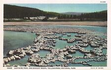 Postcard Wyoming Yellowstone Sapphire Pool & Biscuit Basin Haynes 1940s MINT