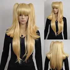 Long Straight Blonde Yellow Two Ponytail Loli Lolita Full Hair Cosplay Anime Wig