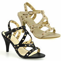 Ladies Womens High Heel Strappy Studded Ankle Strap Gladiator Sandals Shoes Size