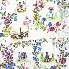 "5 Servietten ""HEIMATMUSEUM"" 33x33 Napkins Häuser Blumen Personen Antik"