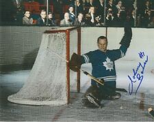 JOHNNY BOWER HAND SIGNED 8x10 COLOR PHOTO+COA    HOF GOALIE  TORONTO MAPLE LEAFS