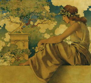 Maxfield Parrish Seated Woman Poster Reproduction Paintings Giclee Canvas Print