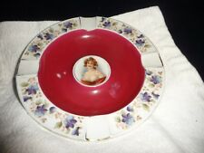 #918 vtg antique 7 3/4''' R porcelain  CIGAR Ash Tray w portrait of women German