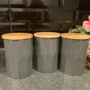 Dark Grey Geo Ceramic Tea Coffee Sugar Storage Jars Bamboo Lid Canisters/Pot Set