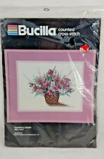 """Bucilla Counted Cross Stitch #40344 Garden Flowers Floral Basket 9'X12"""" inches"""