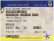 Oxford United Football Non-League Fixture Tickets & Stubs