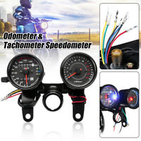 Universal Motorcycle LED Dual Backlight Odometer Tachometer Speedometer Gauge +