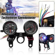 Universal Motorcycle LED Dual Backlight Odometer Tachometer Speedometer Gauge +