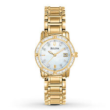 Bulova Women's Diamond Gold Tone Dress Watch 98R165
