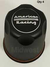 "4 New Satin Black 3.27"" Bore American Racing Wheel Rim Center Caps 1327000SB"